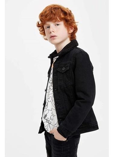 DeFacto İçi Kürklü Jean Ceket Siyah
